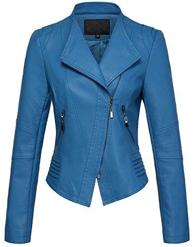 chouyatou Women's Casual Collarless Cropped Pu Leather Biker Jacket Medium Blue (Collarless Cropped Jacket)