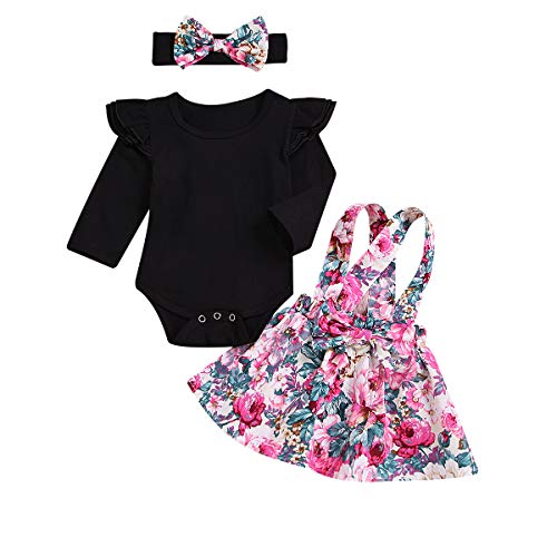 60ad148b595 Infant Toddler Baby Girls Ruffle Floral Romper Jumpsuit Suspender Strap  Skirt Overall Dress Outfits Set