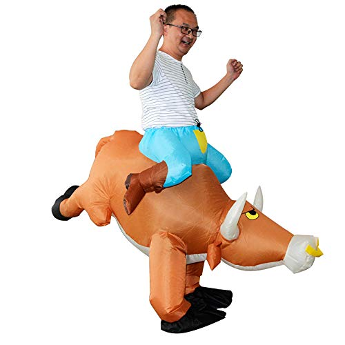 HHARTS Adult Ride on Cattle Inflatable Costume Blow up Costume Animal Cow Costume for Halloween Cosplay Party Christmas Orange -