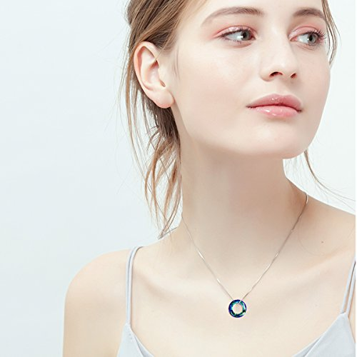 AOBOCO Sterling Silver Necklace Pendant with Swarovski Circle Crystals Simple Jewelry for Women Birthday Gifts for Girls for Wife Her Girlfriend Teens Girls by AOBOCO (Image #1)