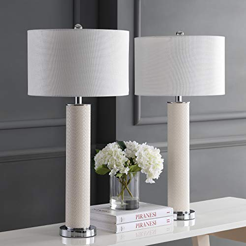 Safavieh Lighting Collection Ollie Cream Faux Woven Leather 31.5-inch Table Lamp (Set of 2) ()