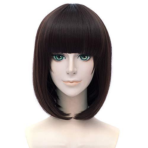 GOOACTION 12''/32Cm Short Bob Brown Hair Wigs Katou Megumi Saenai Heroine No Sodate-Kata Cosplay Costume Party Wigs Synthetic Hair Front Lace Wig