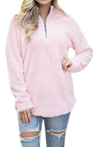 Women's Casual Fleece Solid Pullover Top Zip Outwear Sherpa Sweatshirt with Pockets Pink XL by Spadehill (Image #1)'