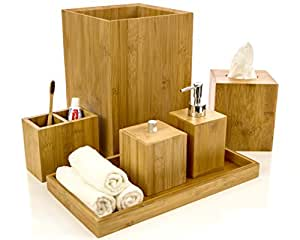 Intriom Bamboo Bathroom Vanity Accessories Set