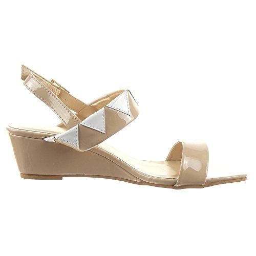 Sopily - Scarpe da Moda sandali alla caviglia donna lucide Tacco zeppa 4.5 CM - Beige