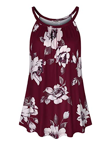 Hibelle Dressy Tank Tops for Women, Halter Blouses Fashion 2019 Summer Sleeveless Pleated Cami Tunic Shirts Casual Aline Drapey Relaxed Fit Boutique Clothing Wine Red Floral M ()