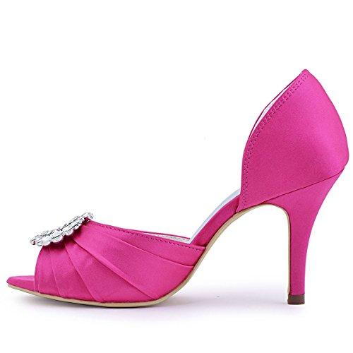Aguja Mujer Plisado Peep A2136 Zapatos Satin De Rhinestones Toe ElegantPark Novia Hot De Pink Boda pR5qanCw