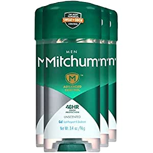 Mitchum Advanced Anti-Perspirant & Deodorant For Men, Gel, Unscented, 3.4-Ounce Stick (Pack of 4)