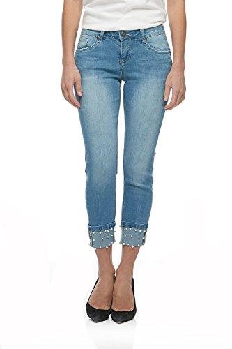 - Suko Jeans Women's Power Stretch Denim Skinny Jean Pants 18406 Pearl 12 Blue