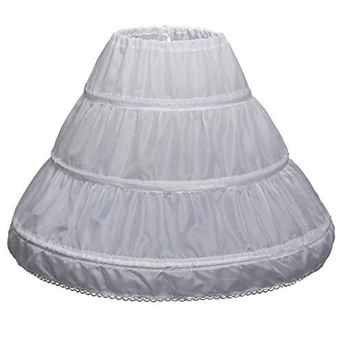 QYC Girl's Petticoat 3 Hoops Full Length Crinoline Petticoat Skirt,White, 2 Size 2-6 -