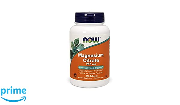 NOW Foods, Citrato de Magnesio, 200 mg, 250 tabletas: Amazon.es: Salud y cuidado personal