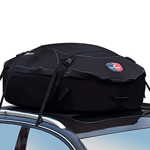 (YOUERBU Car Top Carrier Roof Bag with Protective Mat 16 Cubic Feet, Fits All Cars: with Side Rails, Cross Bars or No Rack, Rooftop Cargo Carrier Bag Includes Heavy Duty Straps)