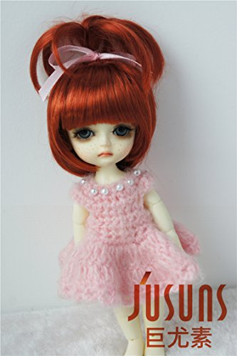 Jusuns 5-6inch Lovely Fountain Doll Wigs 1//8 Synthetic Mohair BJD Wigs 4 Colors