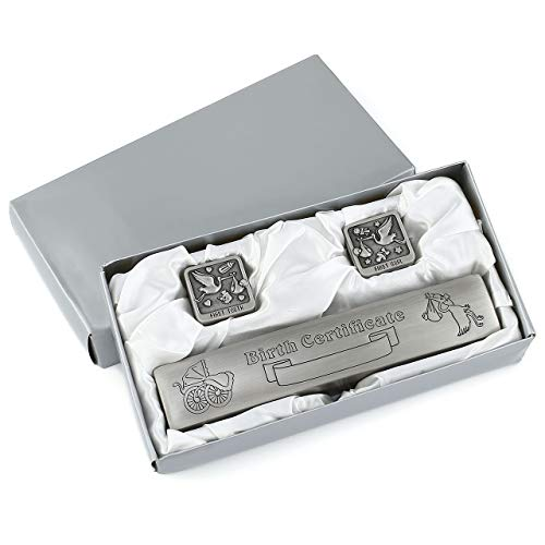 Mogoko Silver Birth Certificate Holder Set with First Tooth and Curl Keepsake Box for Children Kids