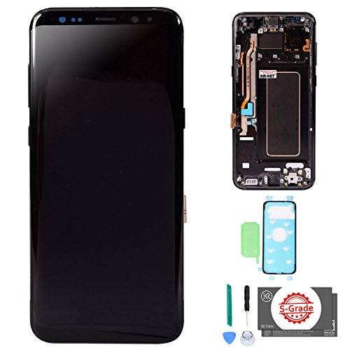(KR-NET [S-Grade] (Midnight Black) AMOLED LCD Display Touch Screen Digitizer with Frame Replacement with Adhesives for Samsung Galaxy S8+ Plus G955U G955F G955A G955P G955V G955T G955R4)