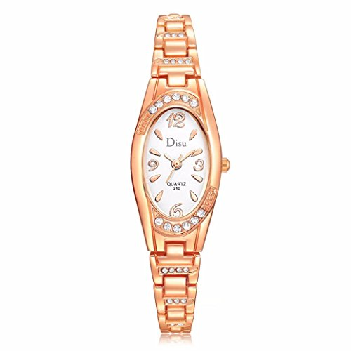 Women Rose Gold Plated Alloy Rhinestone Dial Bracelet Wrist Watch Gift Gold - 3