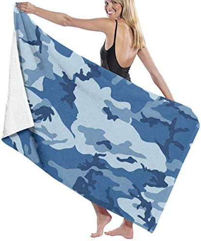 100% Polyester Sea Blue Army Camouflage 3D Print Beach Towel Soft and Absorbent Beach Bath Pool Towel Large Beach Towels One Size About 31.5 X 51.2 Inches