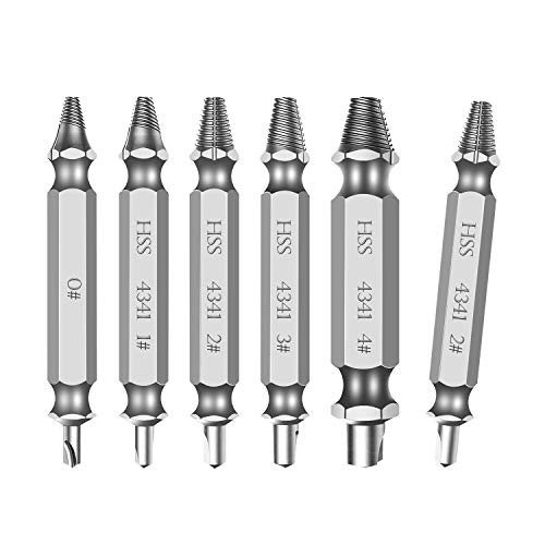 Damaged Screw Extractor Set, Easily Remove Stripped &Broken Screws, Set of 6 Pcs Stripped Screw Remover Kit by ()