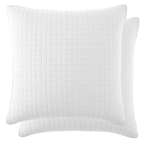 Southshore Fine Linens - VILANO SPRINGS - Pair of Quilted Pillow Sham Covers (No Inserts), 26'' x 26'' , Bright White by Southshore Fine Living, Inc.