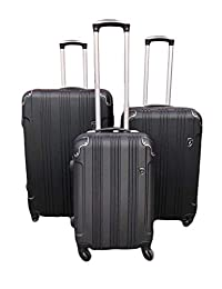 Archibolt Canada 3-Piece Luggage Set Spinner Wheels Hardside Carry On ABS Suitcase Set (Black)