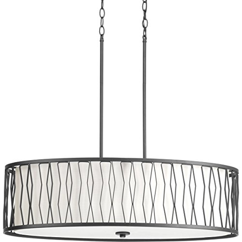 Progress Lighting P500017-143 Transitional Four Light Pendant from Wemberly Collection in Bronze/Dark Finish, 32.00 inches, Graphite