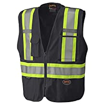 Pioneer Tear-Away Reflective Safety Vest, Front Zipper, Mesh Back, Black, L, V1021170-L