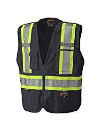 Pioneer Tear-Away Reflective Safety Vest, Front Zipper, Mesh Back, Black, L, V1021170-L