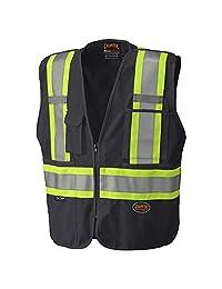 Pioneer Tear-Away Reflective Safety Vest, Front Zipper, Mesh Back, Black, M, V1021170-M