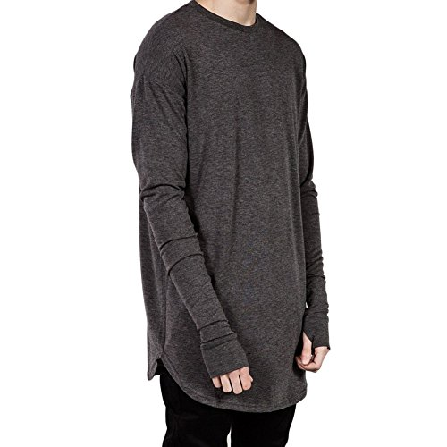 VICVIK Fashion Mens Thumb Hole Cuffs Long Sleeve T-Shirt Basic Tee - Brands Sale Designer Online