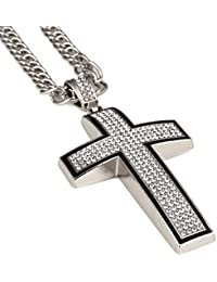 Cross Necklace for Men 18k Real Gold Diamond Pendant Hip...