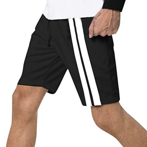 Pervobs Men's Casual Summer Soft Sweatpants Pinstripes Elastic Waist Drawstring Pocket Sport Shorts Pantalones Cortos(31, Black)