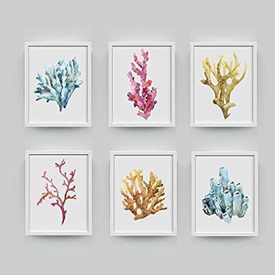 Corales Lámina, Cuadros en la pared Decoración para el hogar Impresión en acuarela Arte de la pared Colgante Lienzo del baño, Pintura Decoración náutica 50x70cmx6 Sin marco: Amazon.es: Bricolaje y herramientas