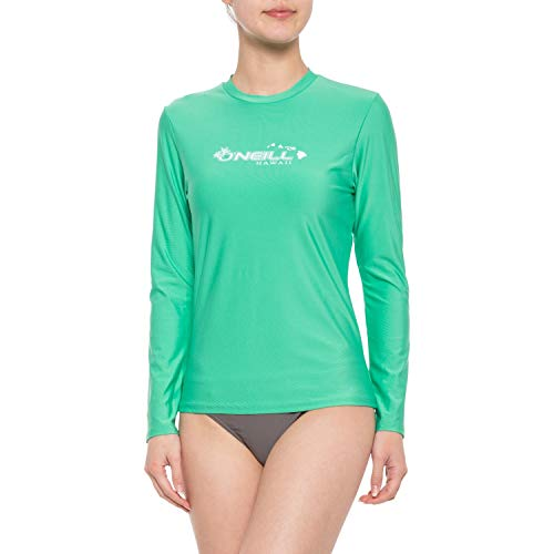 O'Neill Women's Basic Skins UPF 50+ Long Sleeve Rash Guard (Hawaii Light Aqua, X-Small) (Rash Oneill Shirts Guard)