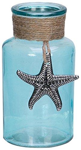 Turquoise Wrapped Bottle Pewter Starfish product image