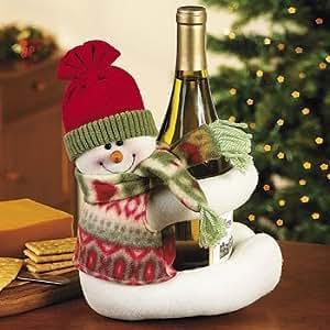Musical Snowman Wine Bottle Hugger Caddy and Holder