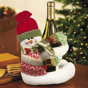 Santa Wine Bottle Holder - Musical Snowman Wine Bottle Hugger Caddy and Holder