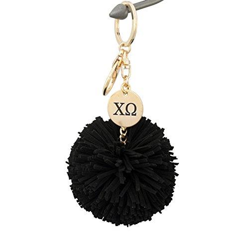 Sorority Charm Keychain - A-List Greek Chi Omega Pom Tassel Keychain Sorority Key Chain with Laser Engraved Charm - Color Black