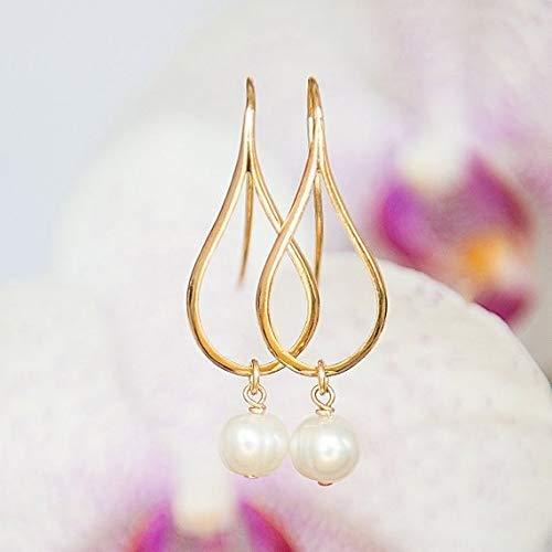 (Gold earrings with Pearls, Dangly earrings, Teardrop earrings, Modern jewelry, Pearl earrings, Greek jewelry, Minimalist earrings)