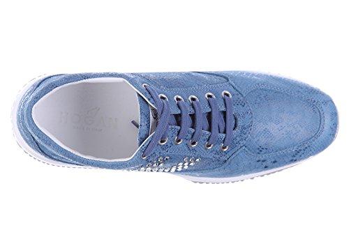 Hogan scarpe sneakers donna camoscio nuove interactive h bucata blu