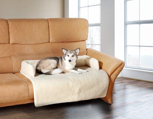 Hunde Kissen / Platzdecke / Sofaschoner aus 100% Schurwolle, Decke 100x80cm - Randhöhe 15cm, anthrazit - einfach PERFEKT! - schütz Ihr Sofa und Ihr Haustier kann neben Ihnen liegen