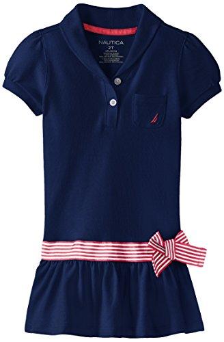Nautica Little Girls' Shawl Collar Pique Dress, El Navy, 3T
