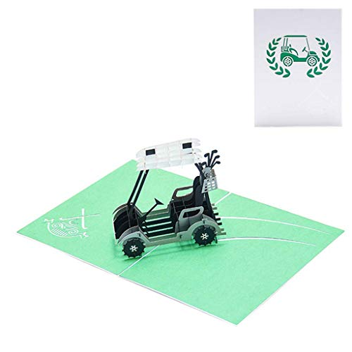 XIAO-WU Golf Cart 3D Pop Up Greeting Card Handmade Birthday Wedding Invitation Craft Art
