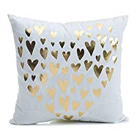 HOMRITAR Throw Pillow Covers Square Decorative Cushion Cover with Love Pattern 18 X 18 inch Pillow Covers,2 Pack