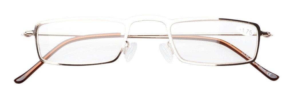 Eyekepper 5 Paia Occhiali da Lettura Montatura Rettangolare Resistente in Metallo Colore Misti 2.75