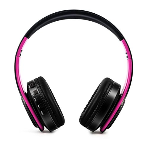 Over Ear Wireless Headset With Mic Hi-Fi Stereo Headset Support SD/TF Card, Foldable, Soft Earmuffs, Fit for Smartphone/Laptop/TV (D) ()