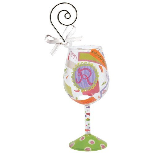 Santa Barbara Design Studio Lolita Holiday Mini-Wine Ornament, Letter R (Ornament Lolita Wine Glass)