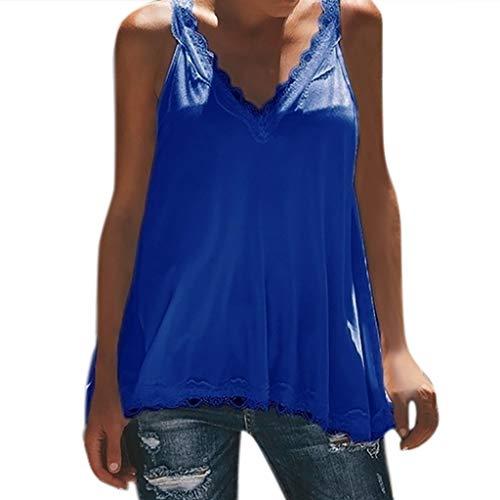 POHOK Vest T Shirt for Women Ladies Applique Sleeveless V-Neck Shirt Lace Patchwork Pullover Tops Blue