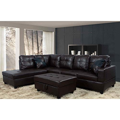 Golden Coast Furniture Modern 3-Piece Faux Leather Sofa Sectional with Ottoman Storage Brown