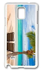 MOKSHOP Adorable chilling under palms Hard Case Protective Shell Cell Phone Cover For Samsung Galaxy Note 4 - PC White