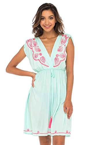 Back From Bali Womens Dress Boho Embroidered Sleeveless Summer Sundress Deep V Neck Midi Short Dress